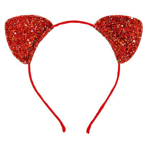 Iridescent Glitter Cat Ears Headband - Red,