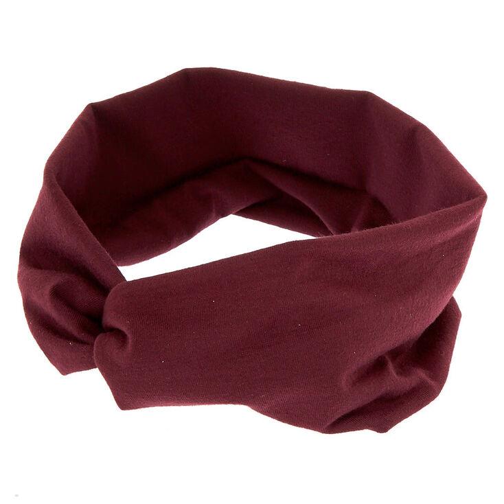 Large bandeau torsadé en jersey prune foncé,