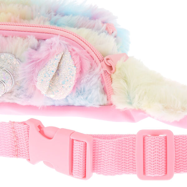 Claire's - pastel fuzzy unicorn bum bag - 2