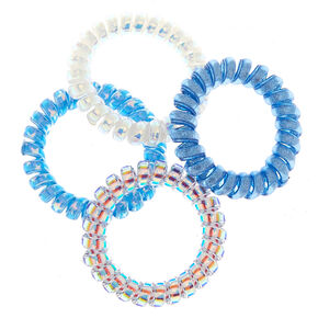 Holographic Glitter Spiral Hair Ties - Blue, 4 Pack,