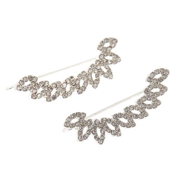 """Claire's - crystal 1.5"""" fan ear crawler earrings - 1"""