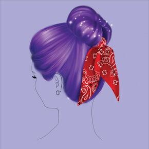 Kit d'accessoires pour chignon bandana - Rouge,