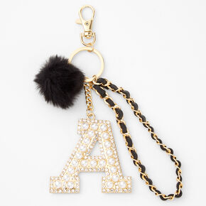 Gold Bling Initial Pom Pom Keyring - Black, A,