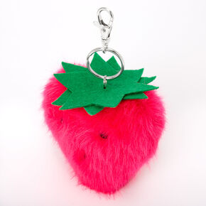 Plush Pom Strawberry Keychain - Pink,
