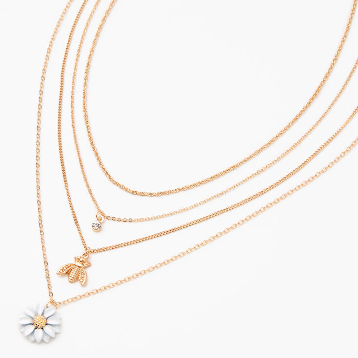 Gold Daisy & Bumblebee Multi Strand Necklace,