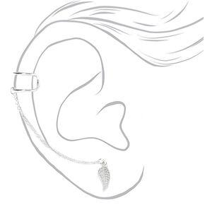 Boucle d'oreille et double manchette connectées feuille couleur argentée,