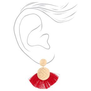 "Gold 2"" Tassel Drop Earrings - Red,"