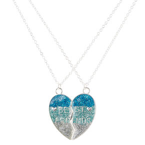 Best Friends Blue Glitter Spilt Heart Pendant Necklaces,