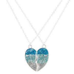 Best Friends Blue Glitter Spilt Heart Pendant Necklaces,