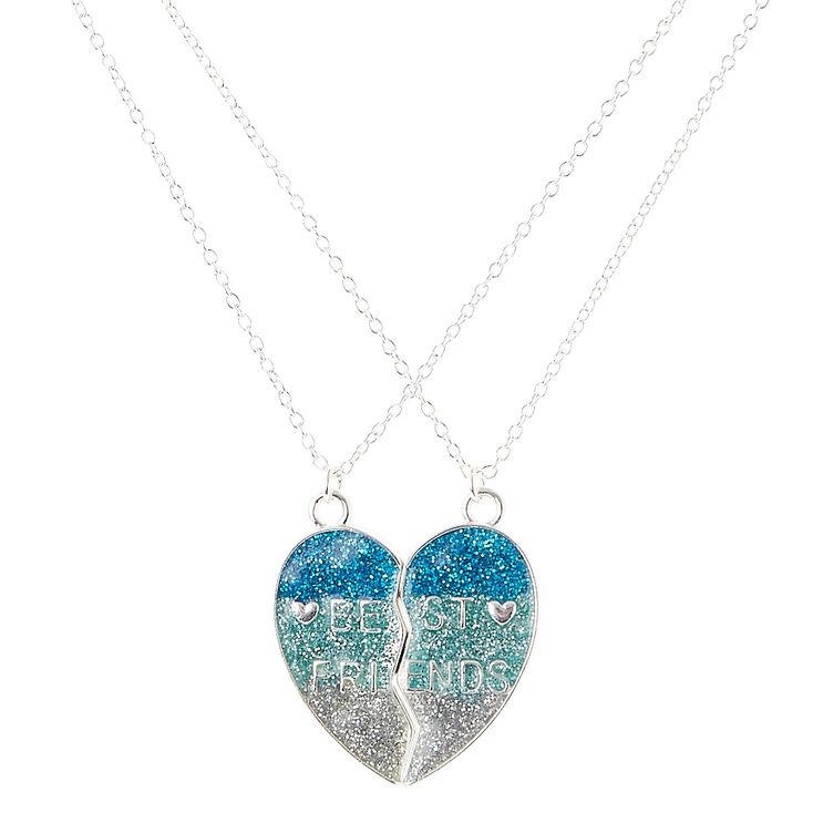 Colliers d'amitié à pendentifs demi-coeur à paillettes bleues,