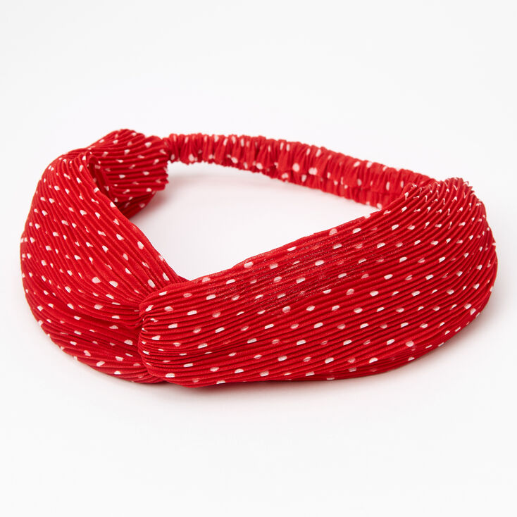 Polka Dot Pleated Knotted Headwrap - Red,