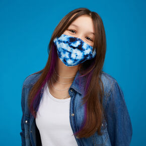 Cotton Blue Tie Dye Print Face Mask - Adult,