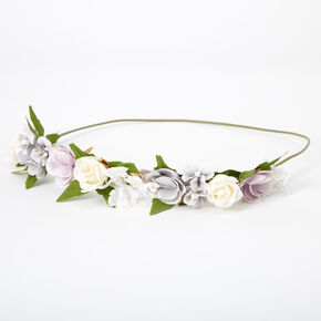 Gold Leaf Flower Crown Headwrap - Blue,