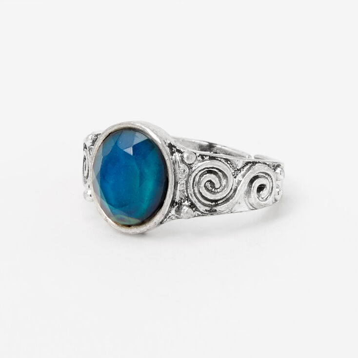 Silver Ornate Band Oval Mood Ring,