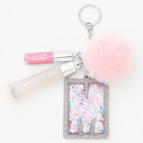 Initial Lip Gloss Keyring - Pink, M,