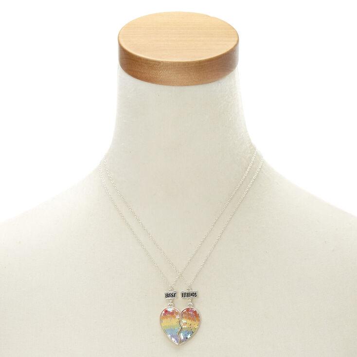 Best Friends Rainbow Floral Heart Pendant Necklaces,