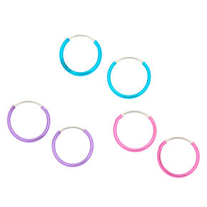 10MM Metallic Hoop Earrings - 3 Pack,