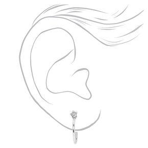 Silver 15 MM Crystal Star Half Hoop Earrings,