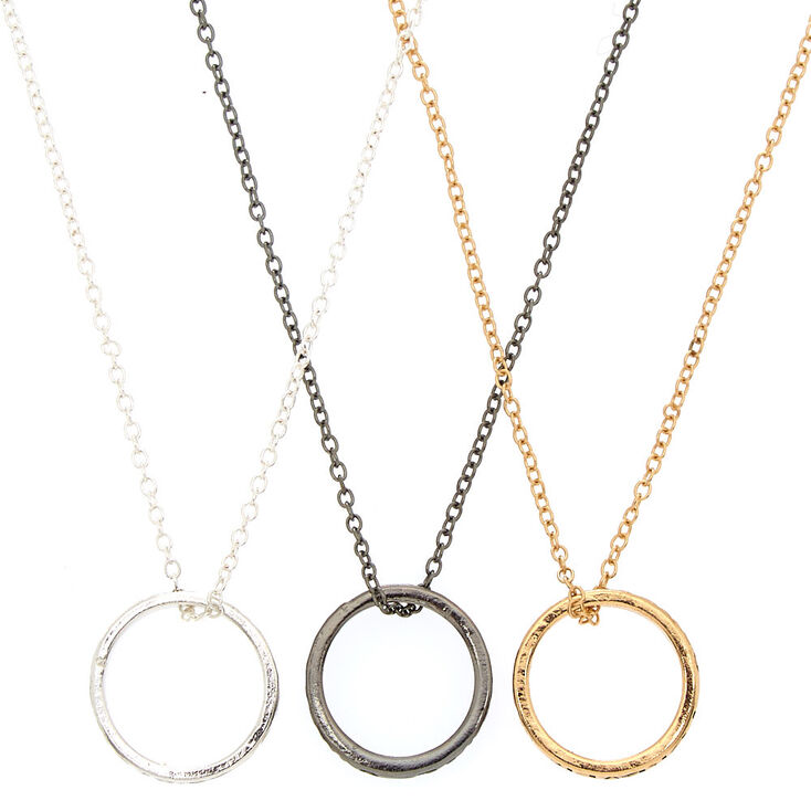 Mixed Metal Best Friends Ring Pendant Necklaces - 3 Pack,