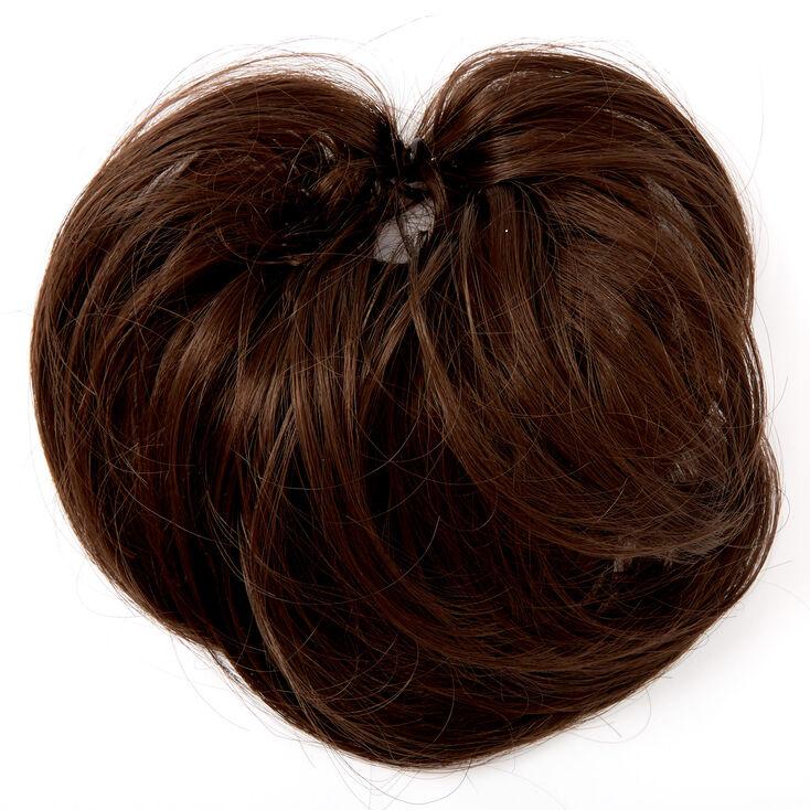Élastique à cheveux synthétiques raides - Brun foncé,