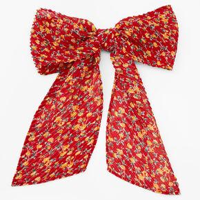 Barrette à nœud florale plissée - Rouge,