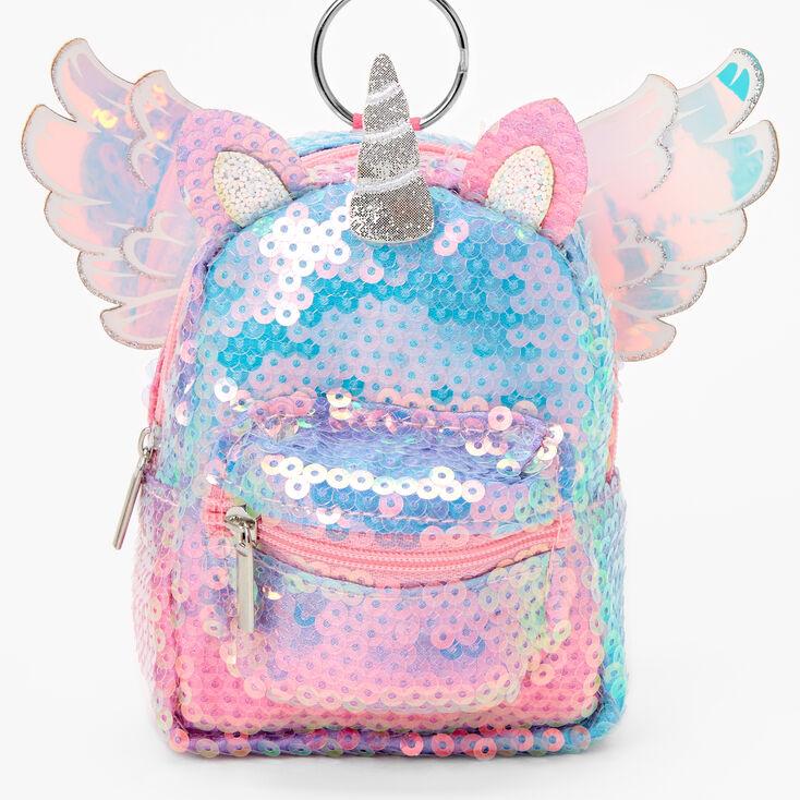 Sequin Unicorn Mini Backpack Keychain - Rainbow,