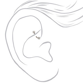 Silver Titanium 16G Bar Fireball Pearl Rook Earrings - 3 Pack,