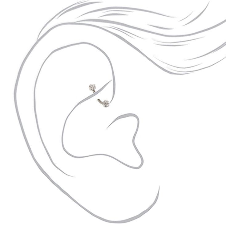 Silver Titanium 16G Fireball Pearl Rook Earrings - 3 Pack,