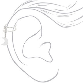 Manchette d'oreille à breloque lune avec strass couleur argentée,