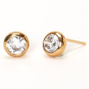 18kt Gold Plated Cubic Zirconia Round Bezel Stud Earrings - 7MM,
