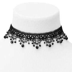 Ras-de-cou orné en dentelle perlé - Noir,