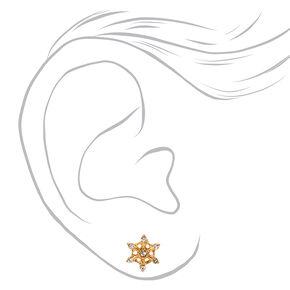18kt Gold Plated Crystal Snowflake Stud Earrings,