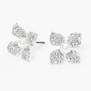 Silver Embellished Pearl Flower Stud Earrings,