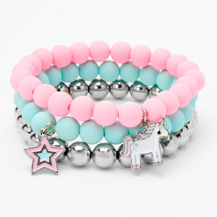 Claire's Club Unicorn Star Matte Beaded Stretch Bracelets - 3 Pack,