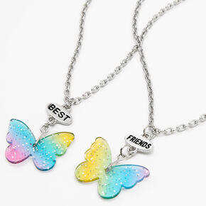 Best Friends Glitter Butterfly Pendant Necklaces - 2 Pack,