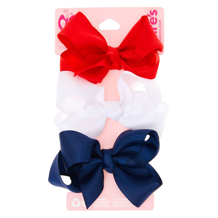 Claire's Club Ribbon Hair Bow Clips - 3 Pack,