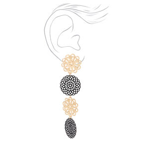 "Gold 2.5"" Filigree Linear Drop Earrings - Black,"