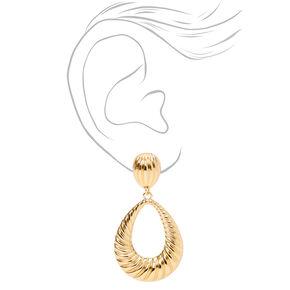 """Gold 2"""" Textured Teardrop Drop Earrings,"""