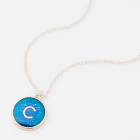 Silver Initial Mood Pendant Necklace - C,