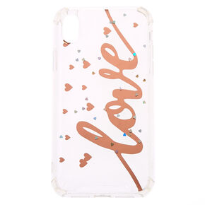 Rose Gold Love Protective Phone Case - Fits iPhone XR,