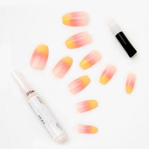 Sunrise Orange Ombre Coffin Faux Nails - 24 Pack,
