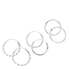Sterling Silver 12MM Textured Hoop Earrings - 3 Pack,