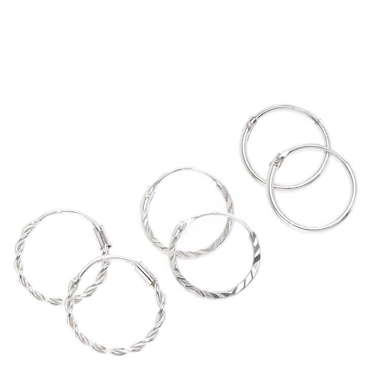 Sterling Silver 12MM Textured Hoop Earrings - 3 Pack,