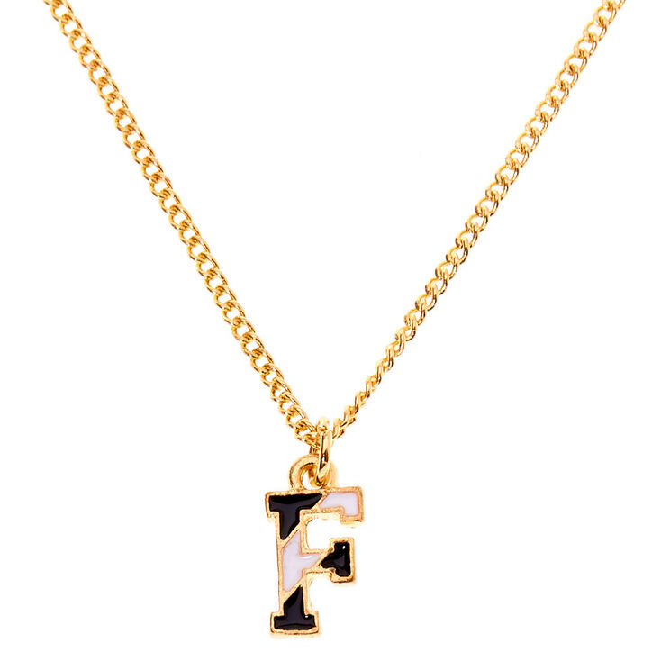 Gold Striped Initial Pendant Necklace - F,