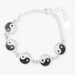 Silver Yin Yang Symbol Charm Bracelet,