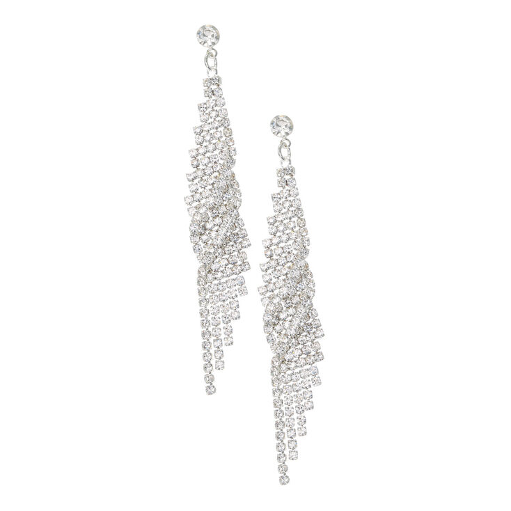 Silver Linear Crystal Mesh Earrings