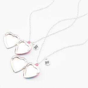 Best Friends Rainbow Ombre Striped Heart Pendant Necklaces - 2 Pack,