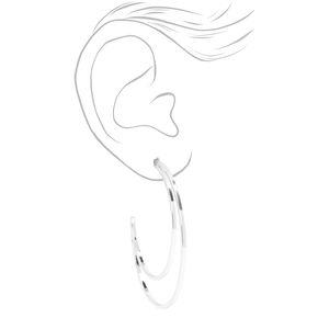 Silver 60MM Open Crescent Moon Hoop Earrings,