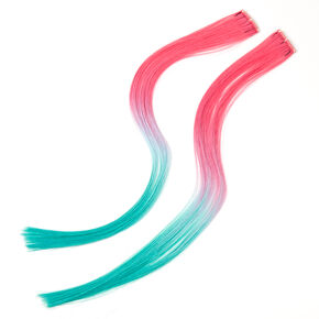 Sky Brown™ Turquoise & Pink Ombre Faux Hair Clip In Extensions - 2 Pack,