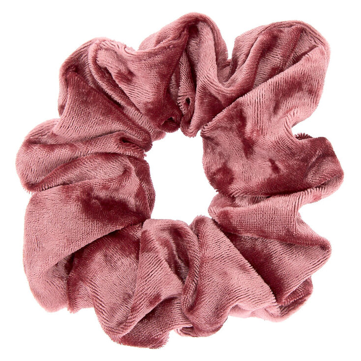 Medium Velvet Hair Scrunchie - Mauve Pink,